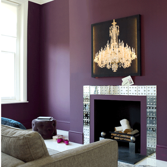 deep dark purple and mirror Fireplace Color Ideas