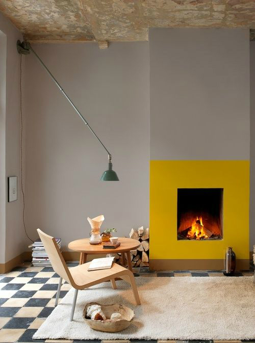 mustaard Fireplace Color Ideas