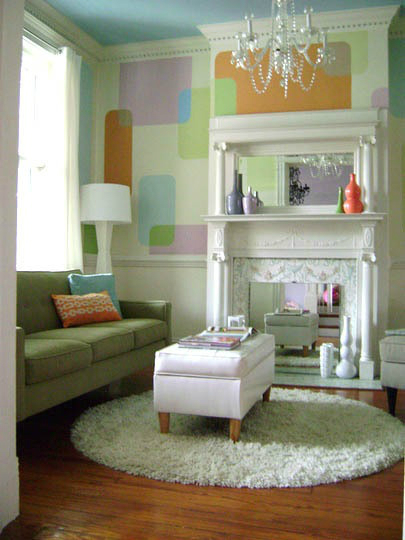 pastel colorful Fireplace Color Ideas