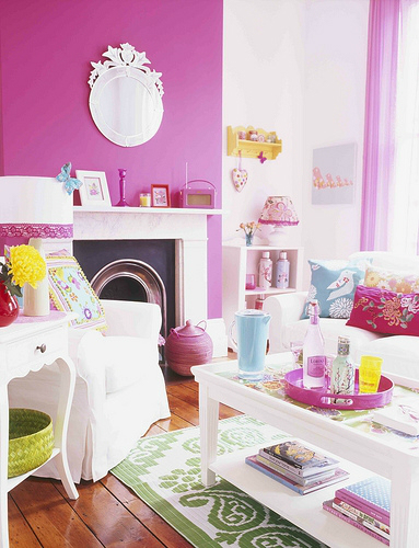bright bold pink Fireplace Color Ideas