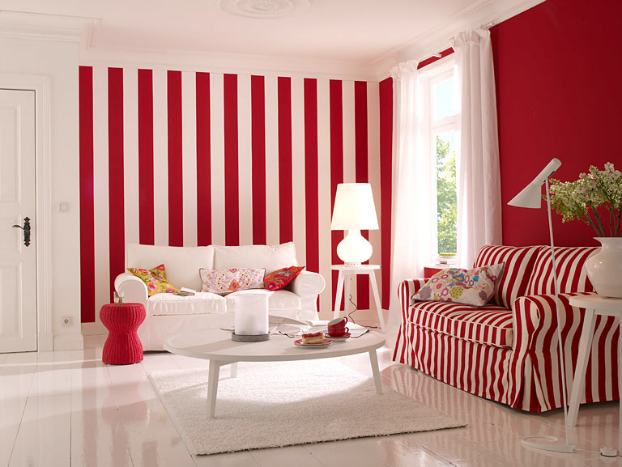 red-white-stipes-wall-paint-idea