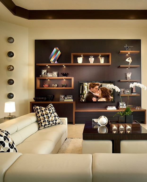 brown and beige living room