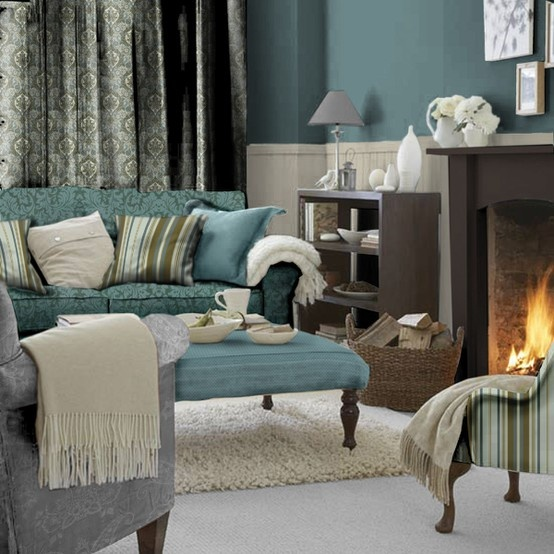 fireplace in a mint green living room