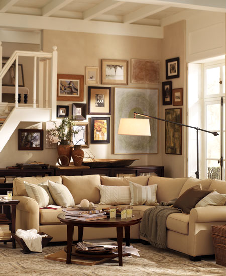 beige sofa and beige walls