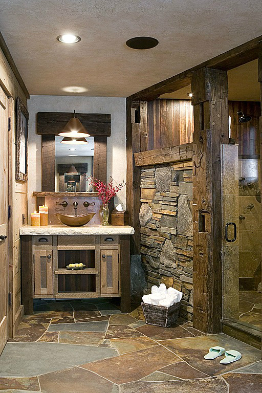 rustic bathroom design 22 - Rustic Bathroom
