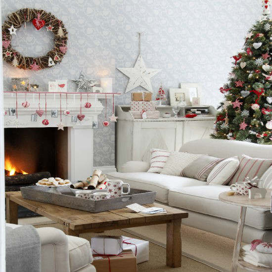 christmas living room country decorating idea 10