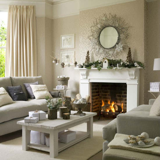 Christmas living room country decorating idea 11