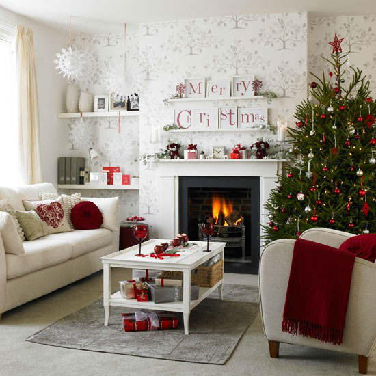 Christmas living room country decorating idea 12