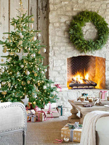 Christmas living room country decorating idea 13