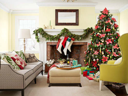 Christmas living room country decorating idea 14