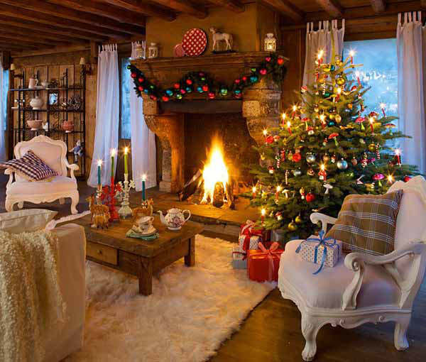 Christmas living room country decorating idea 17
