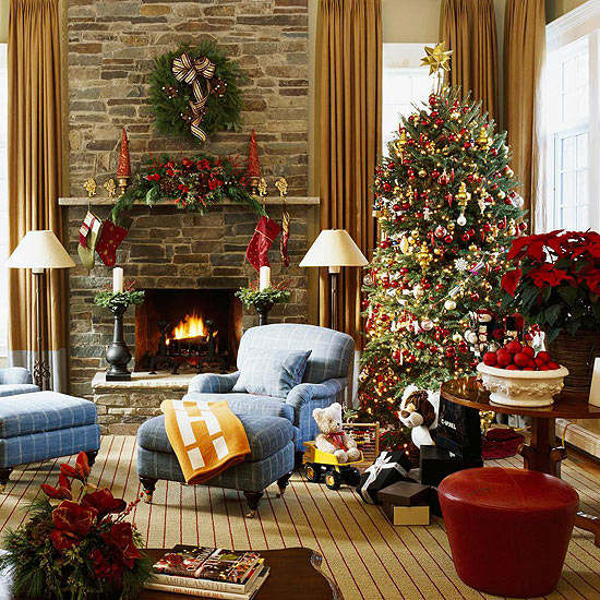 Christmas living room country decorating idea 19