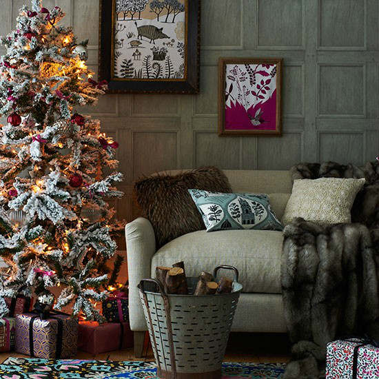 Christmas living room country decorating idea 5