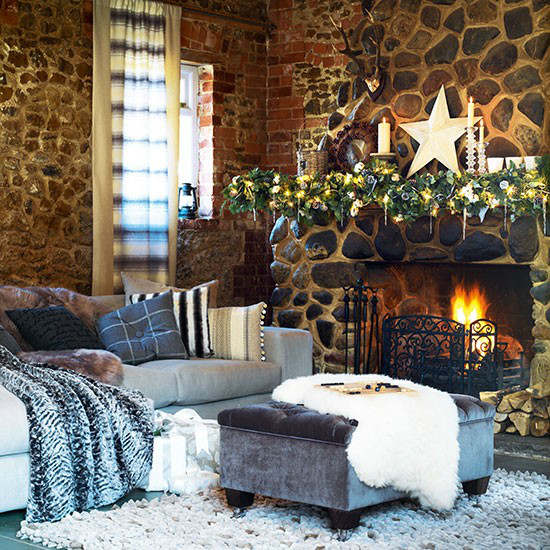 Christmas living room country decorating idea 7