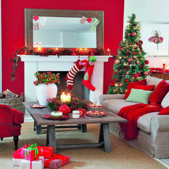 Christmas living room country decorating idea 9