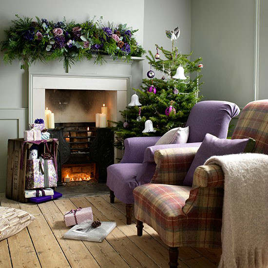Christmas Living Room Country Purple Decorating Idea