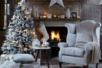 Christmas living room country decorating idea with knitted chair cover