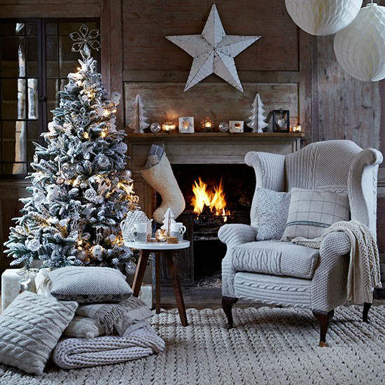 Delightful Christmas Living Room Country Decorating Idea With Knitted Chair Cover