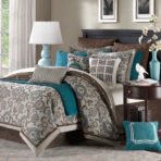 Chocolate, gray, teal bedroom color scheme