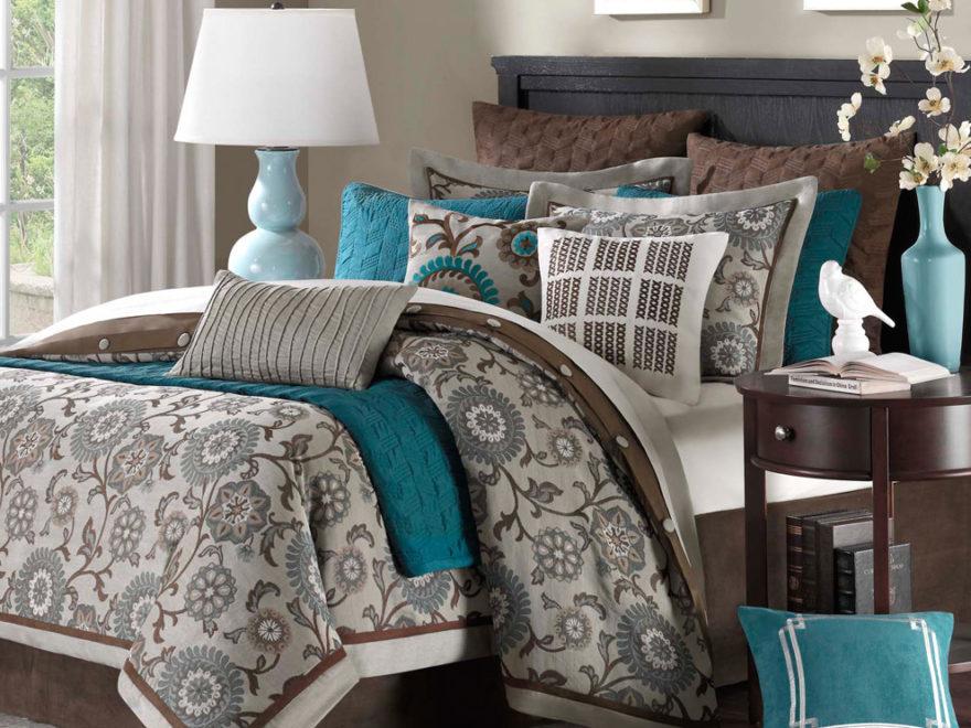 Chocolate, gray, teal bedroom color scheme
