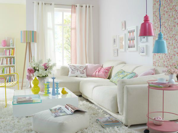 white living room with bright accesories