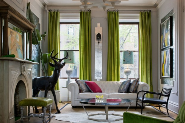 living room with lime green curtains
