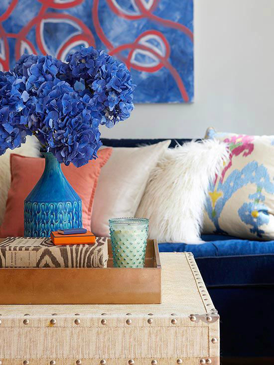 living room with blue indigo painting and flower