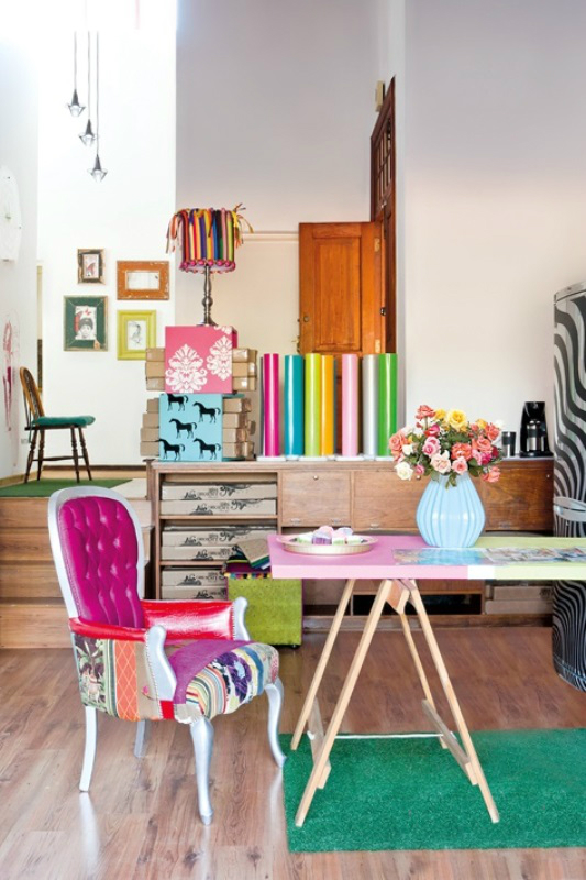 Colorful Pretty Seating Living Room