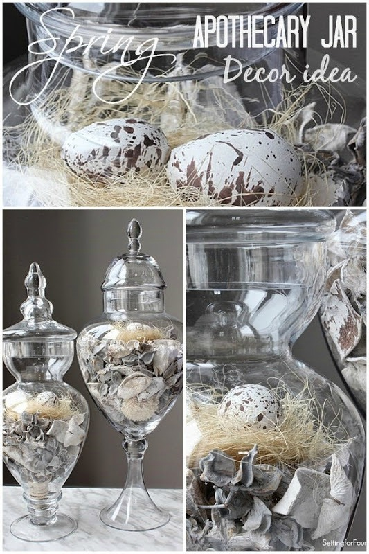 Spring apothecary jar decor