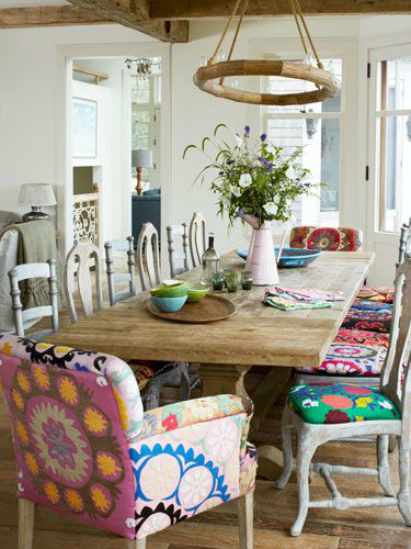 Mix and match furniture 40 dining room ideas decoholic - Colorful dining room tables ...