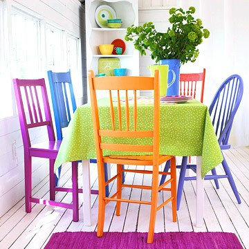 mix and match furniture dining room ideas 9 - Colorful Dining Room Tables