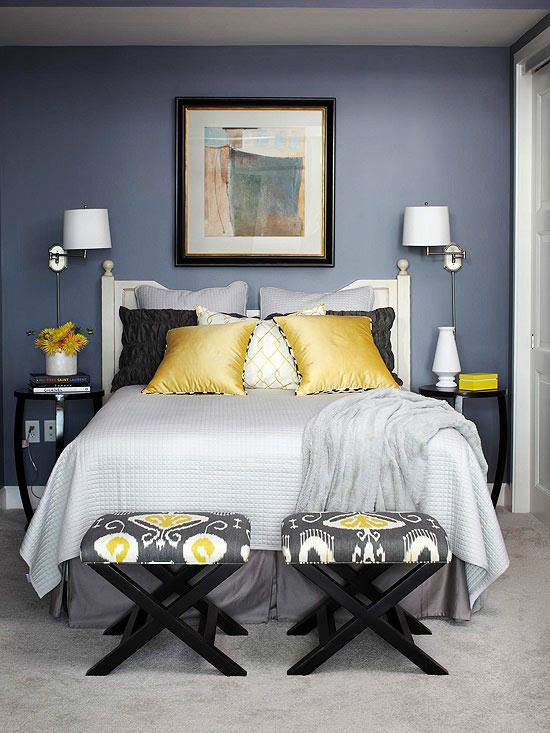 mustard black cream and gray bedroom color scheme - Colors In Bedroom