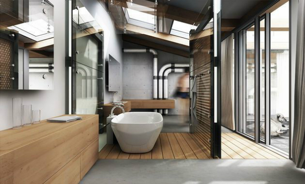 vintage industrial bathroom design 15