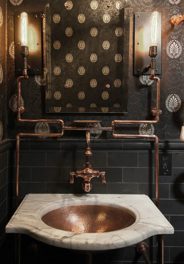 vintage industrial bathroom design 13