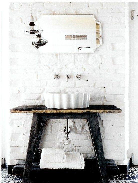 black and white industrial bathroom idea