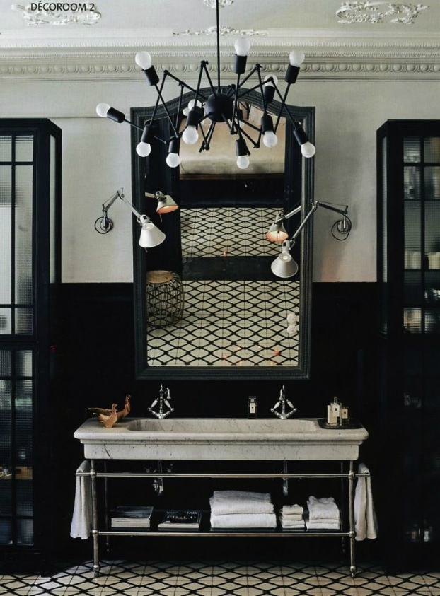 20 bathroom designs with vintage industrial charm decoholic - Decoration salle de bain noir et blanc ...