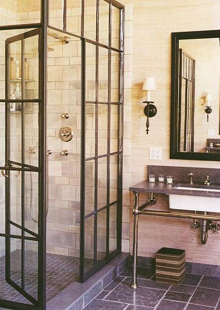 glass door in bathroom