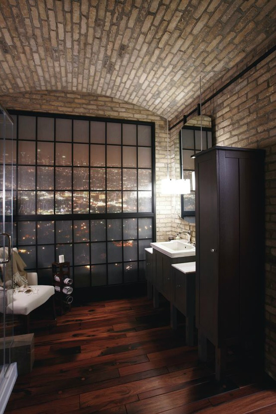 20 bathroom designs with vintage industrial charm decoholic for Loft bathroom ideas design