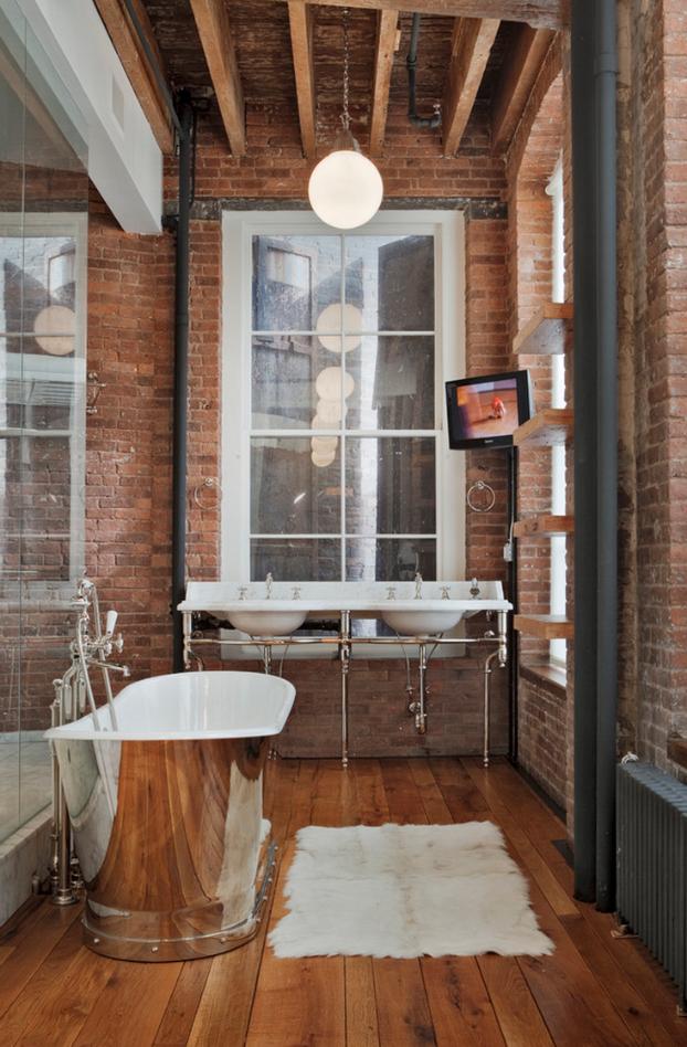 bricks as industrial bathroom ideas