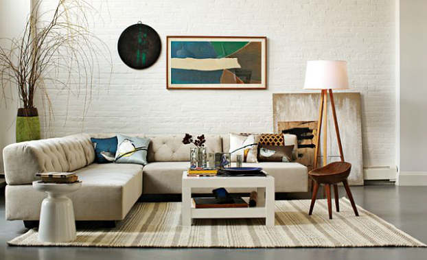 eclectic artist living room