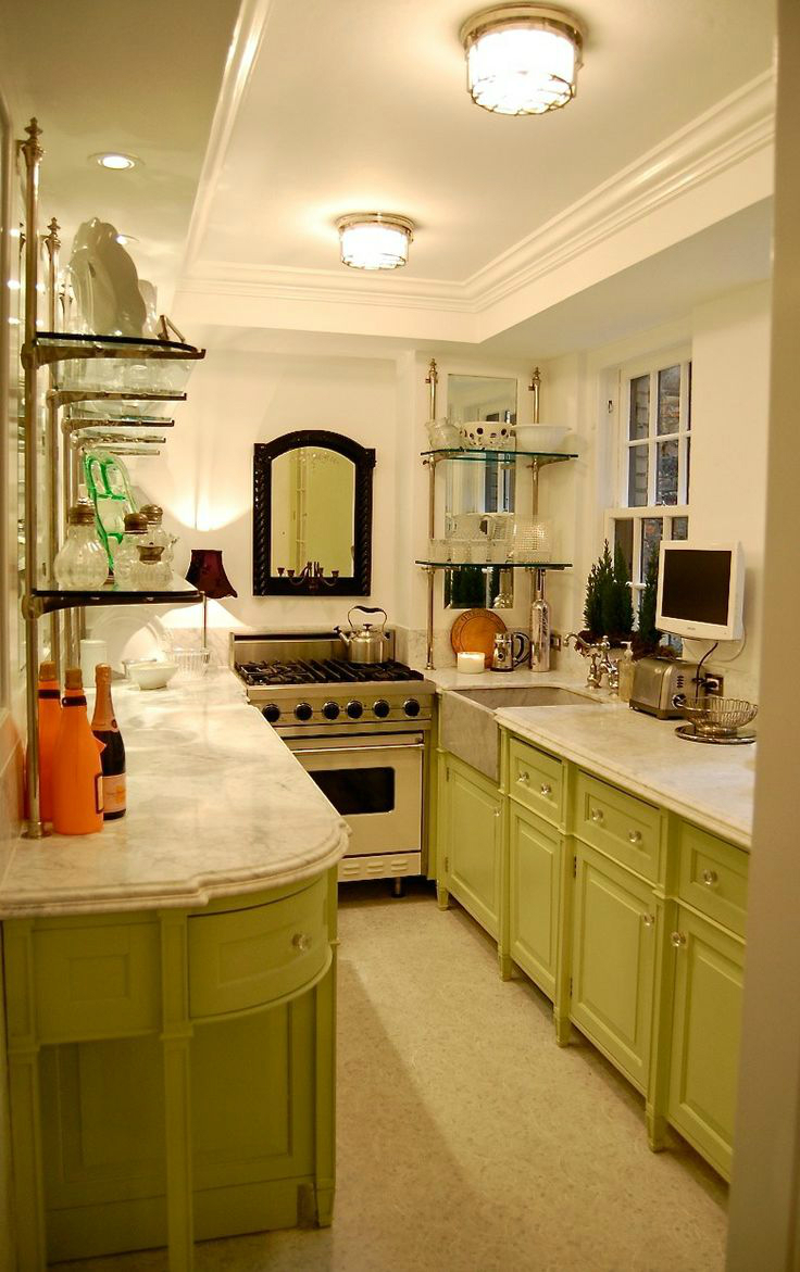 47 best galley kitchen designs decoholic for Best lighting for galley kitchen