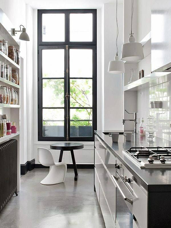 47 best galley kitchen designs decoholic for Window design cement