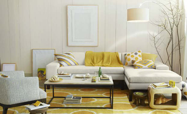 gold gray living room
