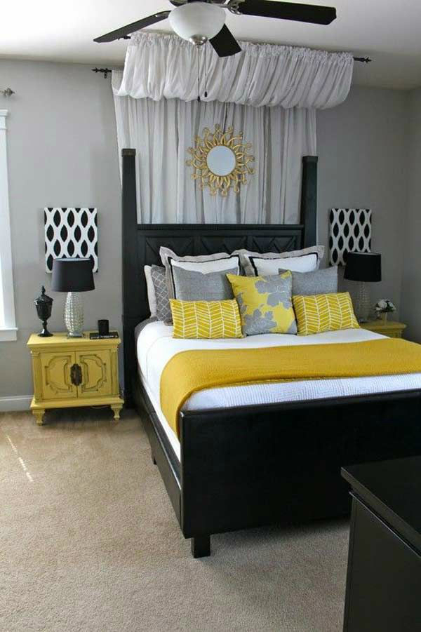 Black White Gray Bedroom Ideas Part - 19: Gray Black And Yellow Bedroom Color Scheme