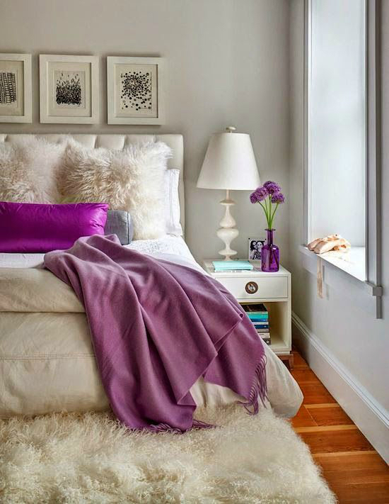 Gray Cream Purple Bedroom Color Scheme  S