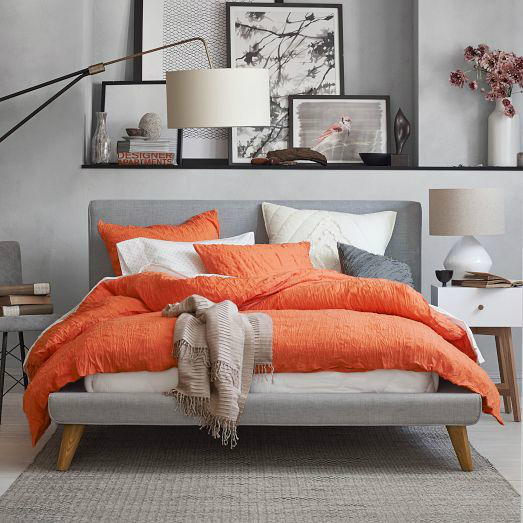 gray with orange bedroom lcolor scheme