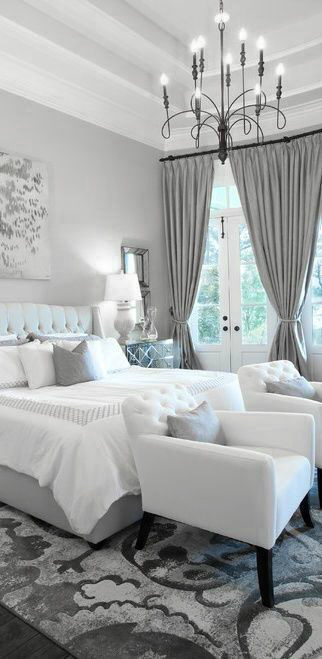 22 beautiful bedroom color schemes decoholic for Grey and white bedroom designs