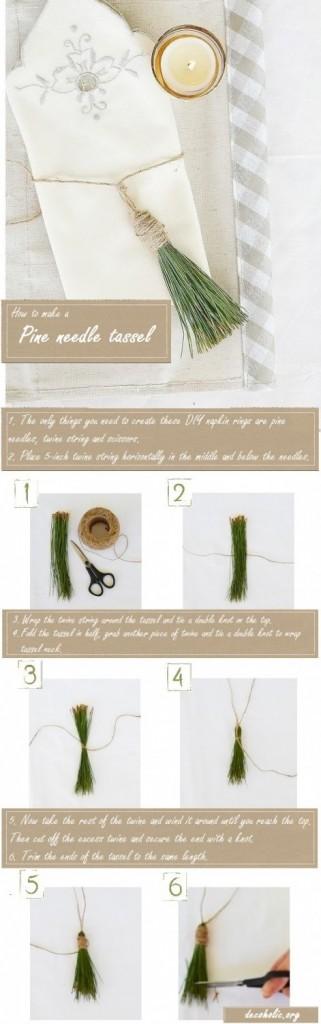 hoew to make a pine needle tassel