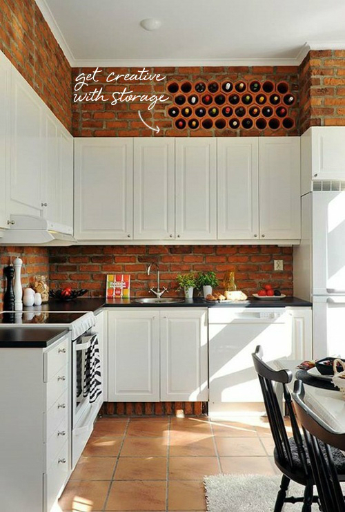 industrial kitchen brick wall backsplash