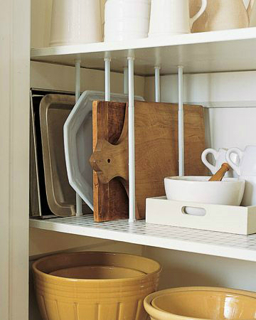 using tension rods in the cupboard or pantry